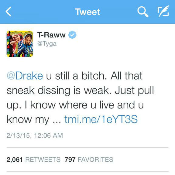 """Rap Beef: Tyga Calls Out Drake On Twitter Following """"6PM In"""
